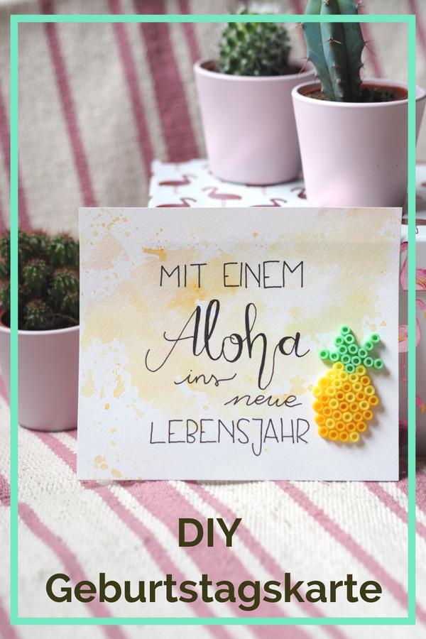 DIY Geburtstagskarte basteln Ananas Aloha